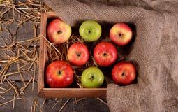 Kasten mit Äpfeln auf hölzernem Hintergrund mit Stroh Stockfotografie