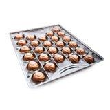 Kasten mit den Schokoladen getrennt auf einem Weiß Lizenzfreies Stockbild