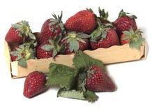Kasten mit Erdbeeren auf weißem Hintergrund Lizenzfreies Stockbild