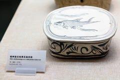 Kasten mit Fischbild in Chen Clan Ancestral Hall Stockfotografie