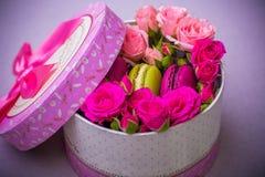 Kasten mit Frühlingsfarbmakronenhintergrund für Valentinsgrüße bemuttern Frauentag Ostern mit Liebe Stockbild