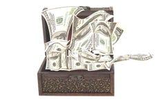 Kasten mit Geld Stockbilder