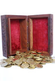 Kasten mit Goldmünzen Lizenzfreie Stockbilder