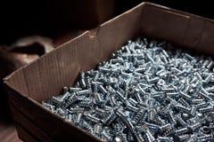 Kasten mit großer Zahl von Möbelschrauben Lizenzfreies Stockfoto