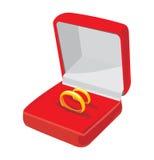 Kasten mit Hochzeitsringen Lizenzfreie Stockbilder