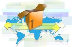 Kasten mit Pfeilen und Weltkarte lizenzfreie abbildung