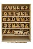 Kasten mit Spielzeugzeichen. Lizenzfreie Stockfotos