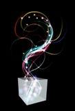 Kasten mit undeutlichem Lichteffekt wirbelt und funkelt. stock abbildung