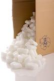 Kasten mit Verpackungsmaterialien stockfotos