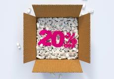 Kasten mit Versanderdnüssen und 20 Prozent heruntergesetzt -zeichen Stockbilder