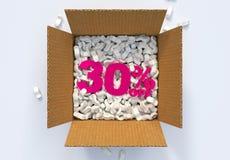 Kasten mit Versanderdnüssen und 30 Prozent heruntergesetzt -zeichen Stockfotografie