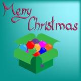 Kasten mit Weihnachtsbällen Stockfotos