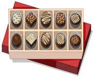 Kasten Schokolade mit rotem Deckel stock abbildung