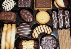 Kasten Schokoladen-Kekse Lizenzfreies Stockbild