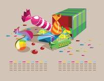 Kasten Schokoladen und Süßigkeiten stock abbildung