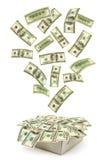Kasten und fallendes Geld Stockbilder