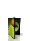 Kasten und grüne Dvdplatte Stockfotos