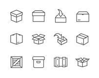 Kasten- und Kistenikonen lizenzfreie abbildung