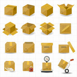Kasten-und Paket-Ikone Stockbilder