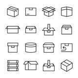Kasten und Verpacken bezogen Stockbild