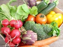 Kasten vegetables3 Stockbild
