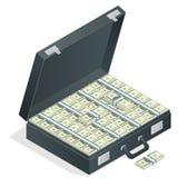 Kasten voll des Geldes auf weißem Hintergrund Lot Geld in einem Koffer Isometrische Illustration des flachen Vektors 3d Stockfoto