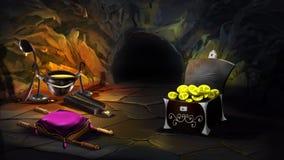 Kasten voll des Goldes in einer magischen Höhle vektor abbildung