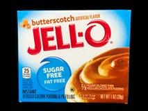 Kasten von Jello Sugar Free Butterscotch Pudding Mix Lizenzfreies Stockfoto