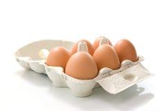 Kasten von sechs Eiern Lizenzfreies Stockbild