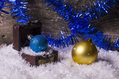 Kasten Weihnachtsverzierungen Lizenzfreies Stockbild