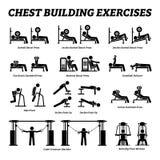 Kastengebäudeübungen und Muskelgebäudestockzahl Piktogramme stockfoto