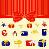 Kastengeschenke Kästen mit Geschenken Lizenzfreies Stockbild