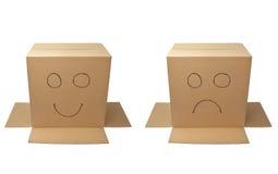 Kastenpaket-Verpackungsgesicht Stockfotos
