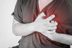 Kastenverletzung in den Menschen Schmerz in der Brust, Gelenkschmerzenleute medizinisch, Monotonhöhepunkt am Kasten Lizenzfreie Stockfotos