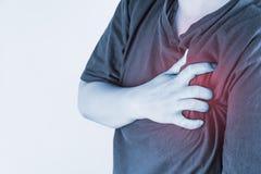 Kastenverletzung in den Menschen Schmerz in der Brust, Gelenkschmerzenleute medizinisch, Monotonhöhepunkt am Kasten Stockfotografie