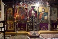 Kastoria. Church of Our Lady Mavritosy. Ancient iconostasis Royalty Free Stock Photo