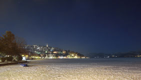 Kastoria with frozen lake at night Royalty Free Stock Images