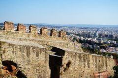 Kastra o la cittadella thessaloniki fotografia stock libera da diritti