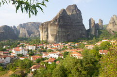 Kastraki village at the foot of the Meteor, Greece Stock Photos
