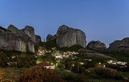 Kastraki village and Meteora mountains at night, Greece Royalty Free Stock Image