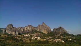 Kastraki village and meteora rocks Royalty Free Stock Photography