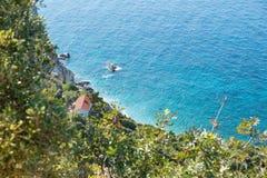 Kastro beach, Skiathos, Greece. Ruins in Kastro, old metropolis of Skiathos Island. Tourist, destination. 2018 royalty free stock photography