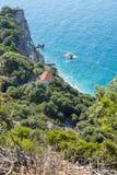 Kastro beach, Skiathos, Greece. Ruins in Kastro, old metropolis of Skiathos Island. Tourist, destination. 2018 stock photo