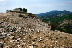 Kastro village church, Greece. Traditional church in Kastro village, Thassos Island, Greece Royalty Free Stock Images