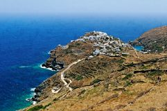 Kastro village on Sifnos. Scenic view of Kastro village in Apollonia region of Sifnos Island, Greece Royalty Free Stock Photos