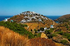 Kastro village on Sifnos. Scenic view of Kastro village on island of Sifnos, Greece Royalty Free Stock Photo