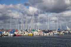 Kastrup Marina Sailboat Harbour à Copenhague, Danemark image stock