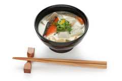 Kasu jiru (soup with a sake lees base) , japanese. Food , on white background Royalty Free Stock Photos