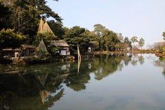Kasumi pond and tea house. In Kenroku-en stock photos