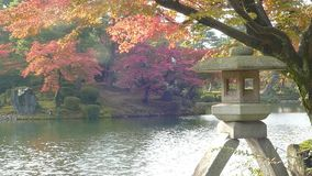 Kasumiga-ike Pond at Kenrokuen Garden in Kanazawa stock video footage